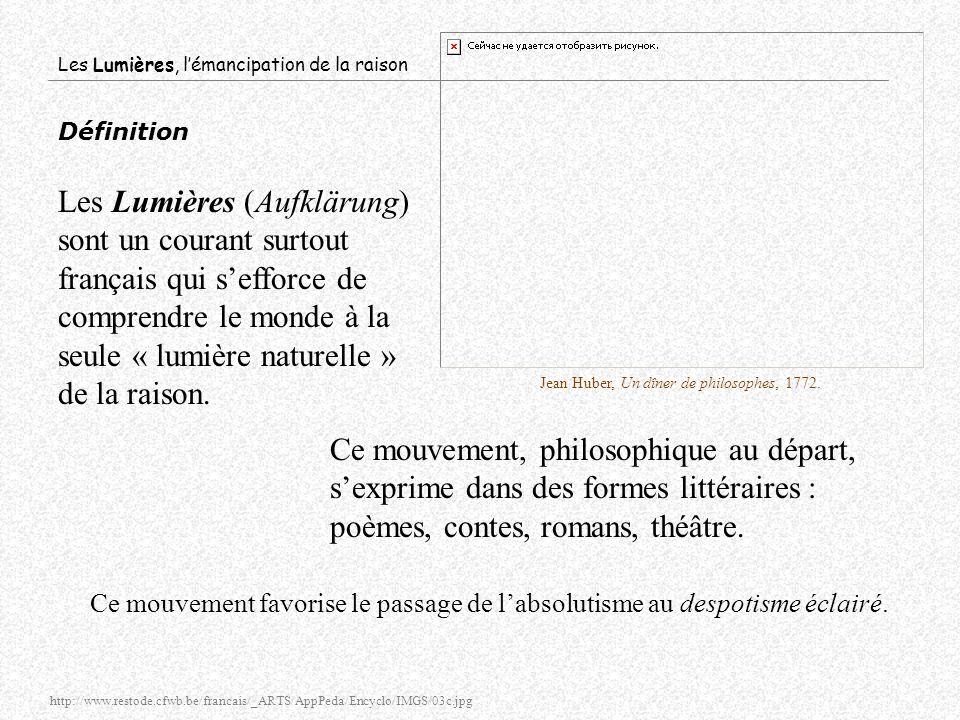 Les Lumières, lémancipation de la raison Définition Les Lumières (Aufklärung) sont un courant surtout français qui sefforce de comprendre le monde à l