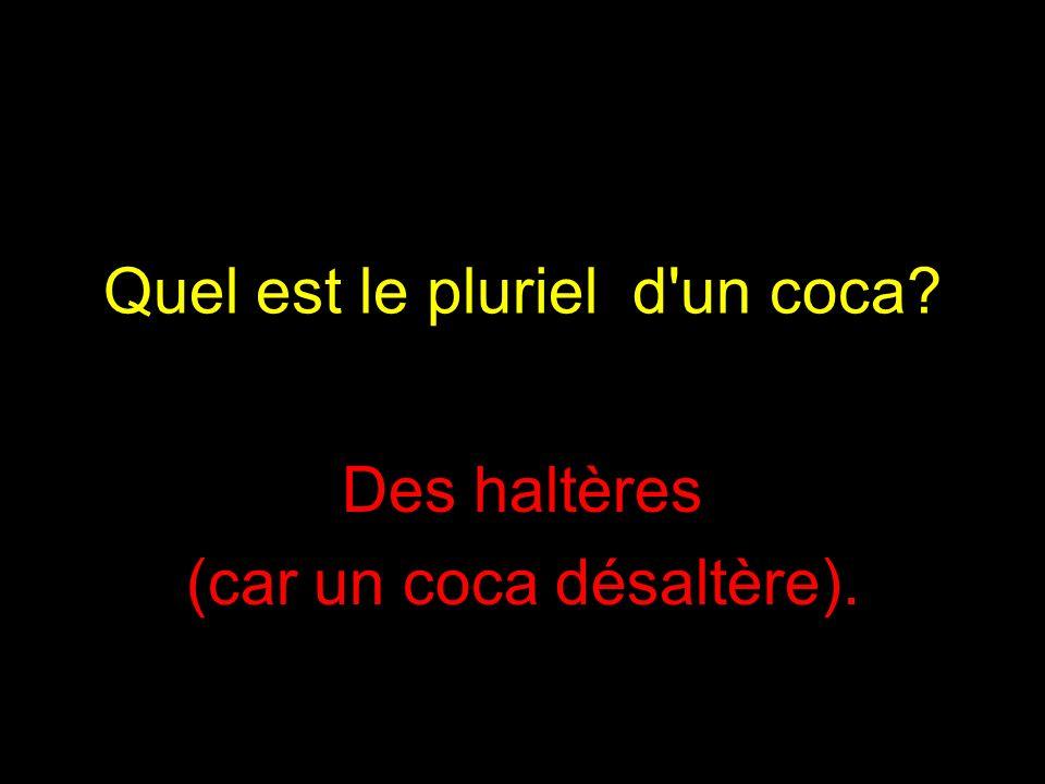 Quel est le pluriel d un coca? Des haltères (car un coca désaltère).