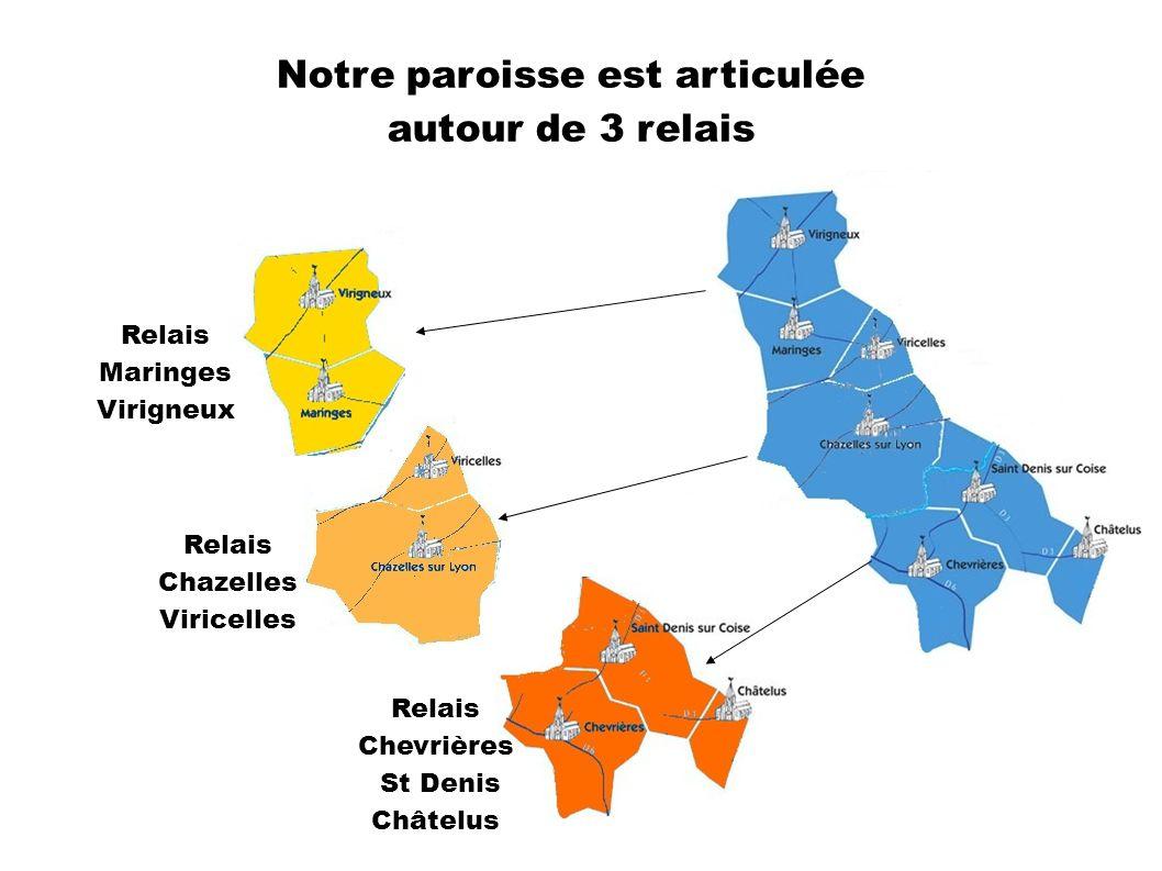 Notre paroisse est articulée autour de 3 relais Relais Maringes Virigneux Relais Chazelles Viricelles Relais Chevrières St Denis Châtelus