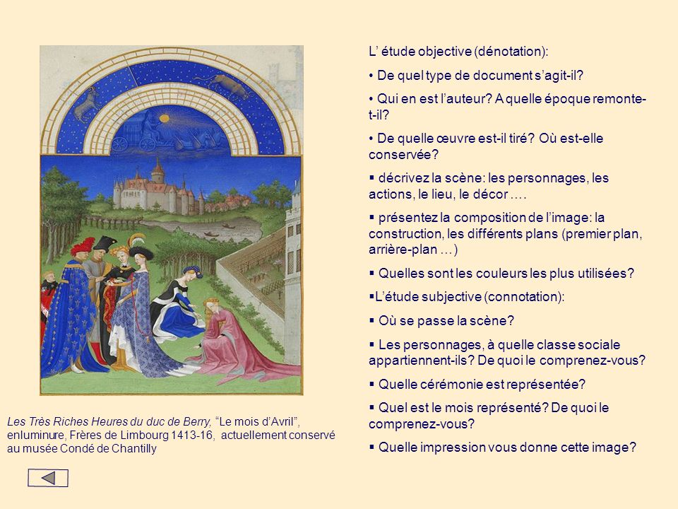 Les Très Riches Heures du duc de Berry, Le mois dAvril, enluminure, Frères de Limbourg 1413-16, actuellement conservé au musée Condé de Chantilly L ét