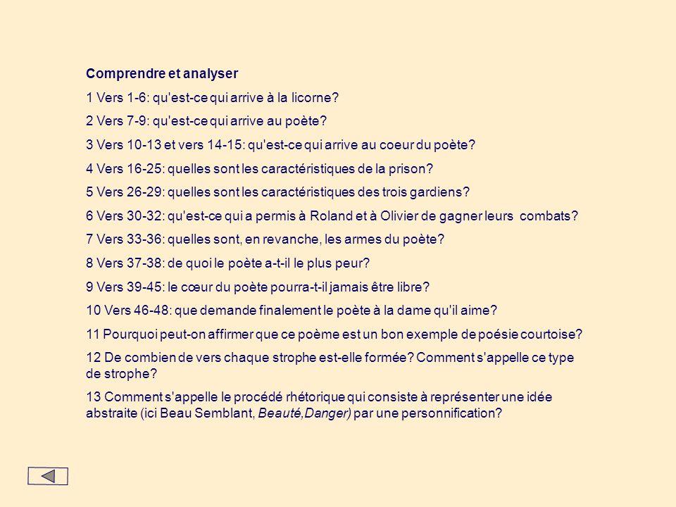 Comprendre et analyser 1 Vers 1-6: qu'est-ce qui arrive à la licorne? 2 Vers 7-9: qu'est-ce qui arrive au poète? 3 Vers 10-13 et vers 14-15: qu'est-ce