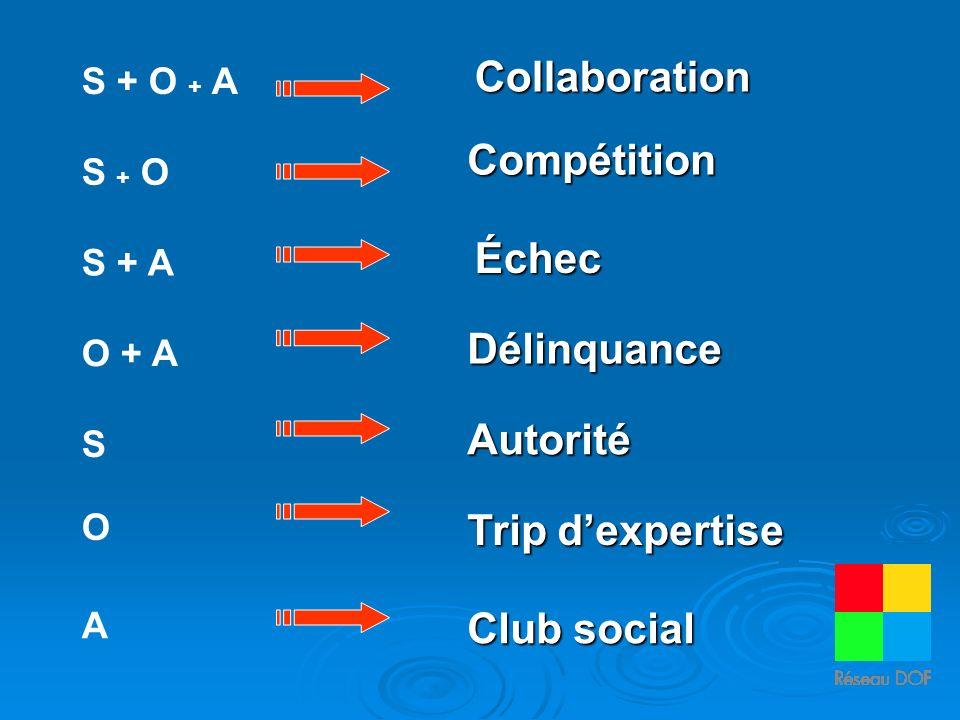S + O + A S + O S + A O + A S O A Collaboration Échec Délinquance Autorité Trip dexpertise Club social Compétition