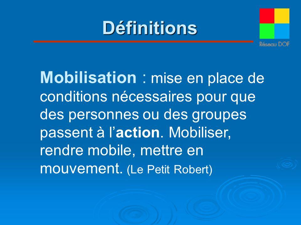 Mobilisation : mise en place de conditions nécessaires pour que des personnes ou des groupes passent à laction. Mobiliser, rendre mobile, mettre en mo