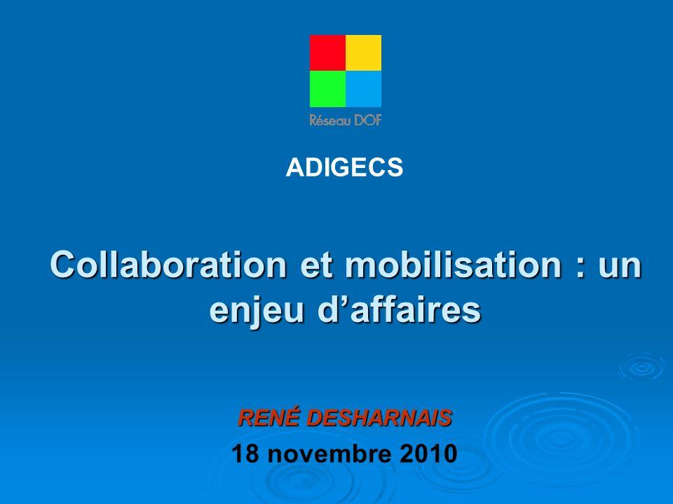 Collaboration et mobilisation : un enjeu daffaires RENÉ DESHARNAIS 18 novembre 2010 ADIGECS