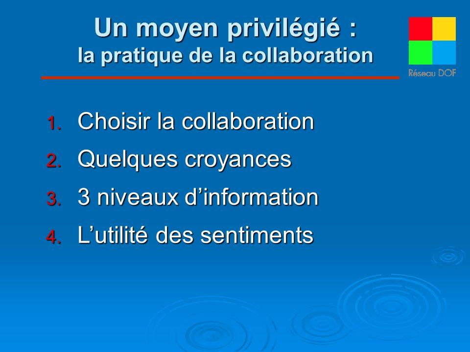 Un moyen privilégié : la pratique de la collaboration Choisir la collaboration Choisir la collaboration Quelques croyances Quelques croyances 3 niveau