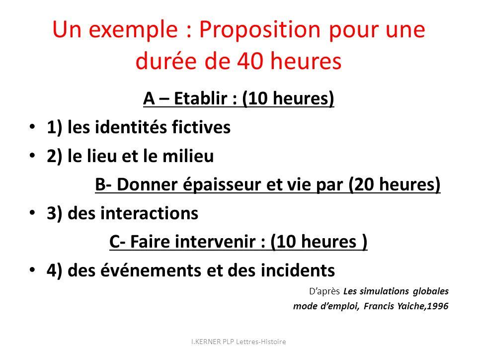 Un exemple : Proposition pour une durée de 40 heures A – Etablir : (10 heures) 1) les identités fictives 2) le lieu et le milieu B- Donner épaisseur e
