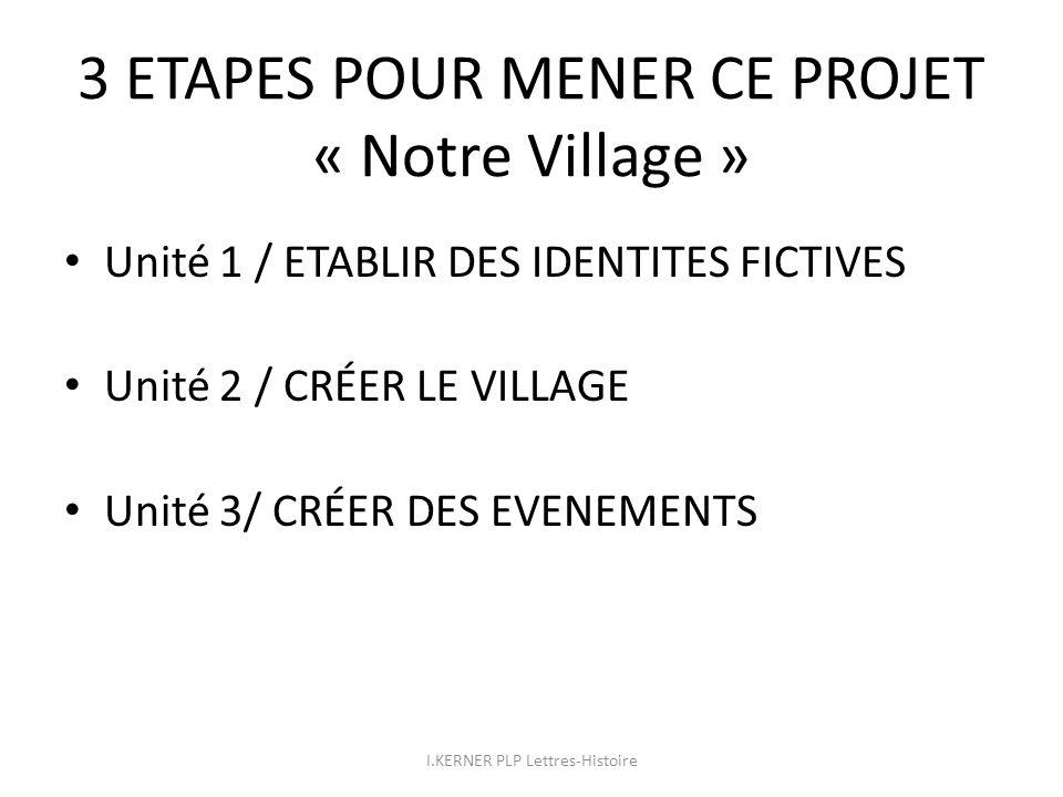 3 ETAPES POUR MENER CE PROJET « Notre Village » Unité 1 / ETABLIR DES IDENTITES FICTIVES Unité 2 / CRÉER LE VILLAGE Unité 3/ CRÉER DES EVENEMENTS I.KE