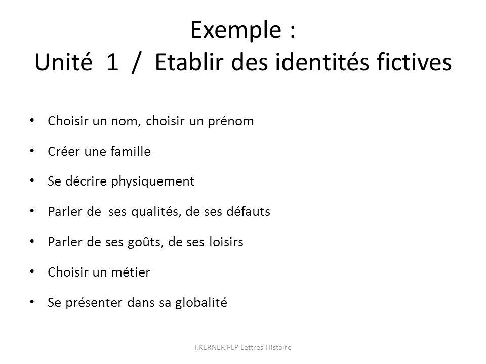 Exemple : Unité 1 / Etablir des identités fictives Choisir un nom, choisir un prénom Créer une famille Se décrire physiquement Parler de ses qualités,