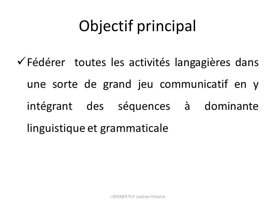 Objectif principal Fédérer toutes les activités langagières dans une sorte de grand jeu communicatif en y intégrant des séquences à dominante linguist