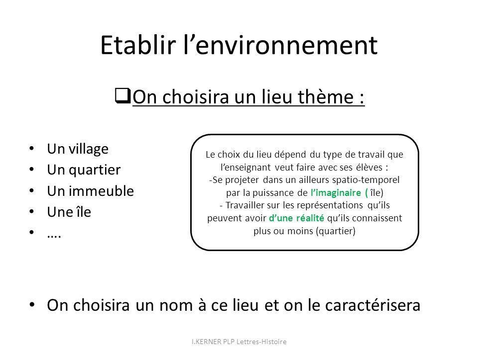 Etablir lenvironnement On choisira un lieu thème : Un village Un quartier Un immeuble Une île …. On choisira un nom à ce lieu et on le caractérisera L