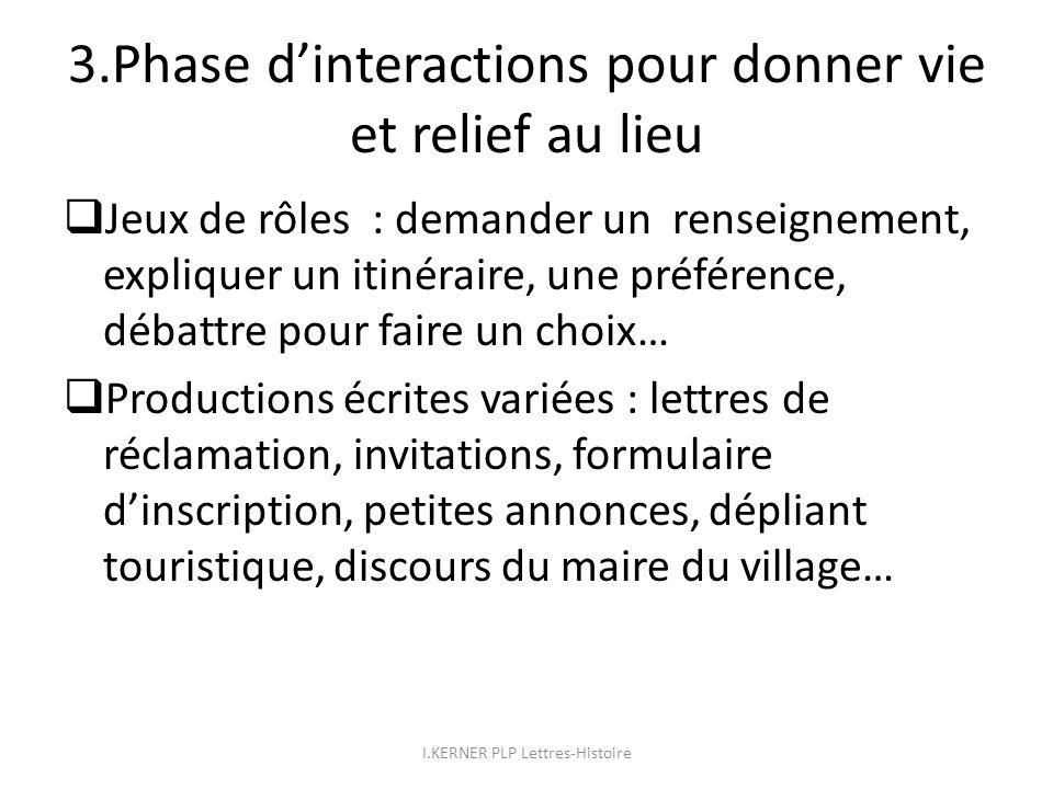 3.Phase dinteractions pour donner vie et relief au lieu Jeux de rôles : demander un renseignement, expliquer un itinéraire, une préférence, débattre p