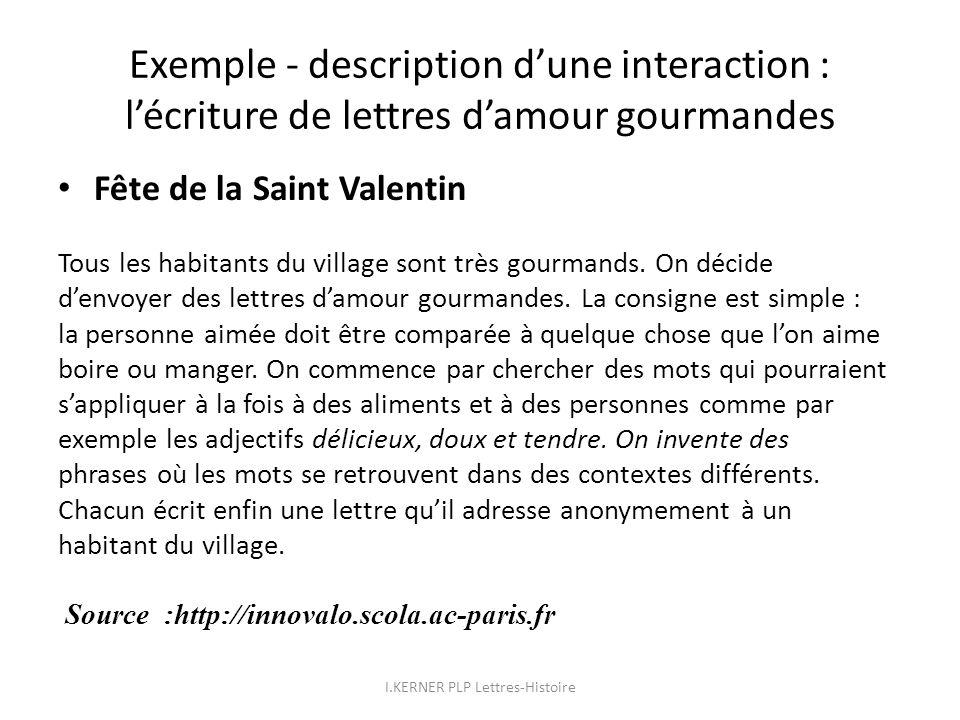 Exemple - description dune interaction : lécriture de lettres damour gourmandes Fête de la Saint Valentin Tous les habitants du village sont très gour