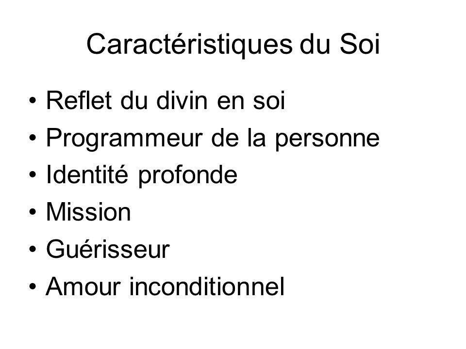 Caractéristiques du Soi Reflet du divin en soi Programmeur de la personne Identité profonde Mission Guérisseur Amour inconditionnel