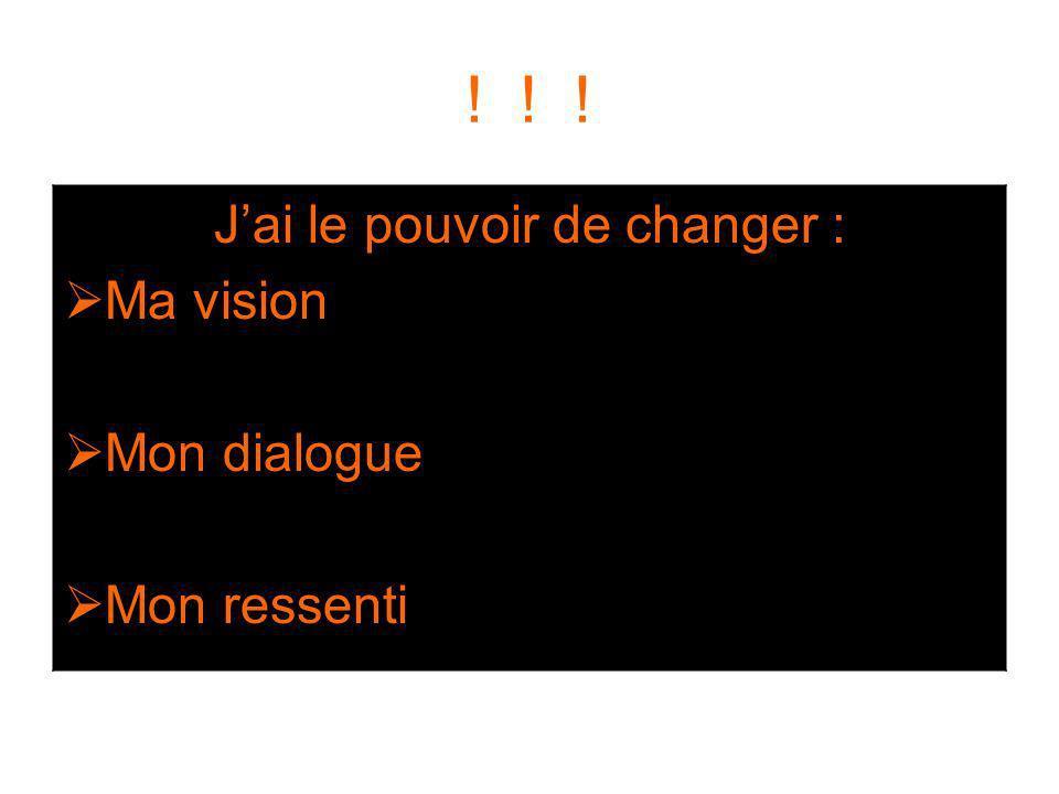 ! ! ! Jai le pouvoir de changer : Ma vision Mon dialogue Mon ressenti