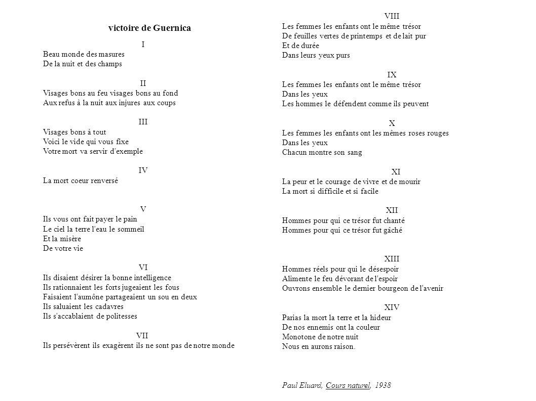 La victoire de Guernica I Beau monde des masures De la nuit et des champs II Visages bons au feu visages bons au fond Aux refus à la nuit aux injures