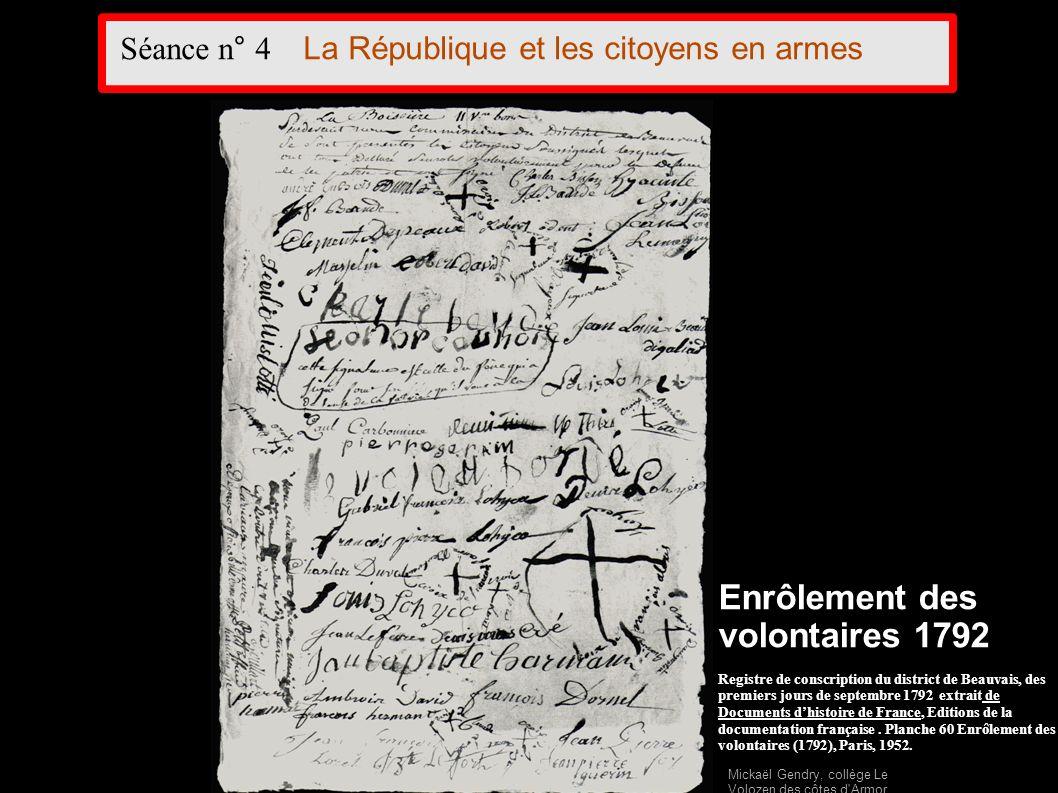 Enrôlement des volontaires 1792 Registre de conscription du district de Beauvais, des premiers jours de septembre 1792 extrait de Documents dhistoire