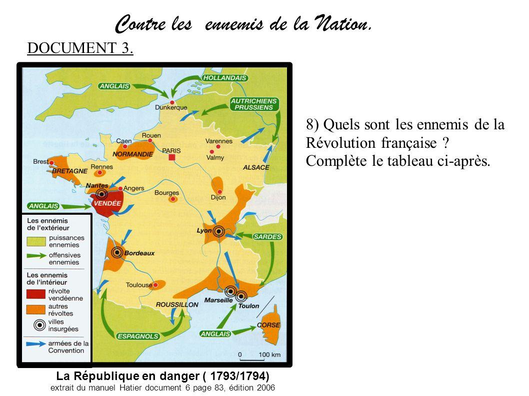 Contre les ennemis de la Nation. La République en danger ( 1793/1794) extrait du manuel Hatier document 6 page 83, édition 2006 8) Quels sont les enne