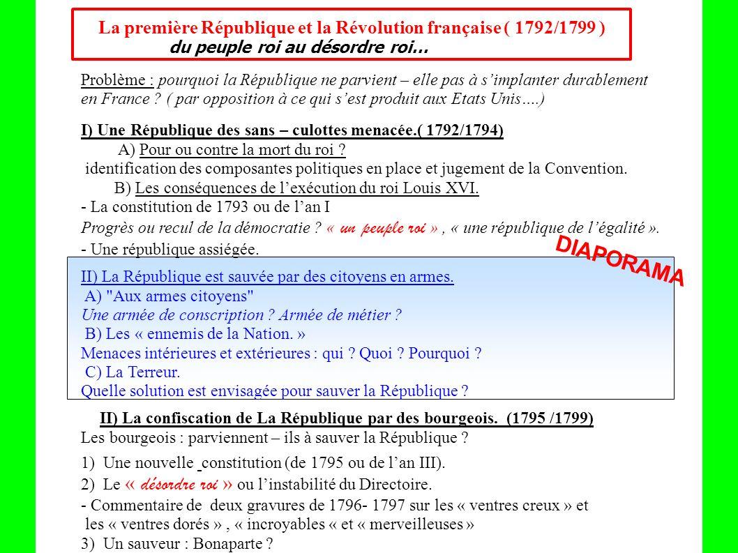 La première République et la Révolution française ( 1792/1799 ) du peuple roi au désordre roi… Problème : pourquoi la République ne parvient – elle pa