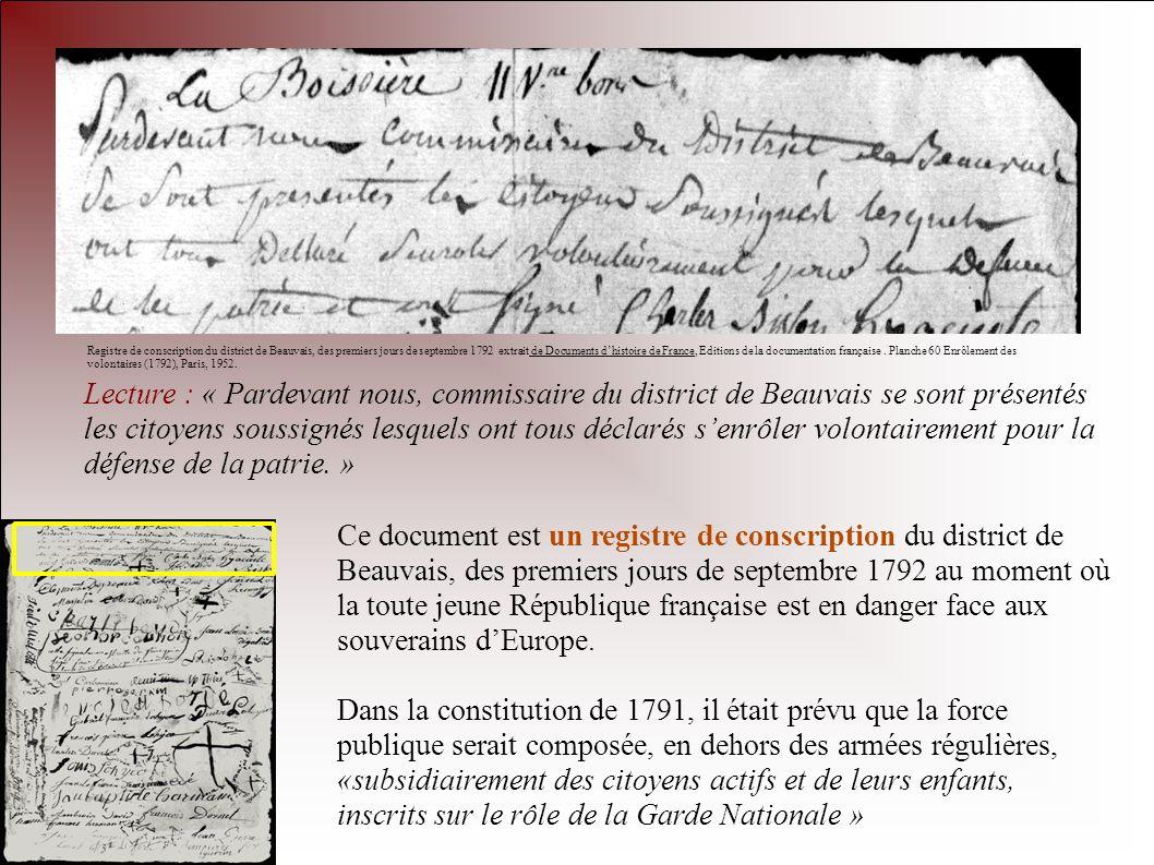 Lecture : « Pardevant nous, commissaire du district de Beauvais se sont présentés les citoyens soussignés lesquels ont tous déclarés senrôler volontai