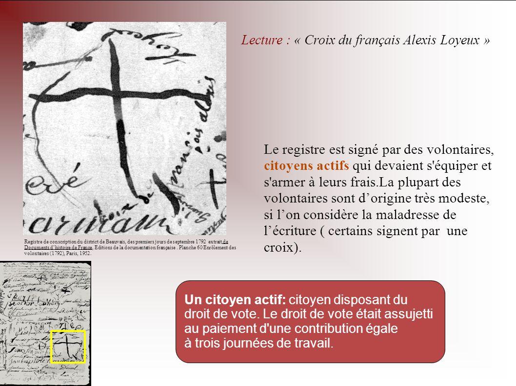 Lecture : « Croix du français Alexis Loyeux » Registre de conscription du district de Beauvais, des premiers jours de septembre 1792 extrait de Docume