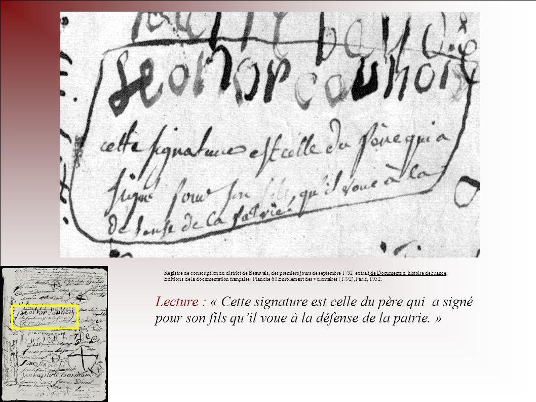 Lecture : « Cette signature est celle du père qui a signé pour son fils quil voue à la défense de la patrie. » Registre de conscription du district de