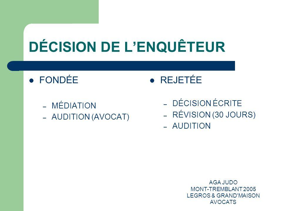 AGA JUDO MONT-TREMBLANT 2005 LEGROS & GRAND'MAISON AVOCATS DÉCISION DE LENQUÊTEUR FONDÉE – MÉDIATION – AUDITION (AVOCAT) REJETÉE – DÉCISION ÉCRITE – R