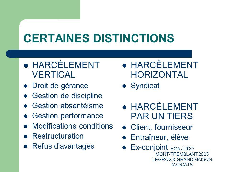 AGA JUDO MONT-TREMBLANT 2005 LEGROS & GRAND'MAISON AVOCATS CERTAINES DISTINCTIONS HARCÈLEMENT VERTICAL Droit de gérance Gestion de discipline Gestion