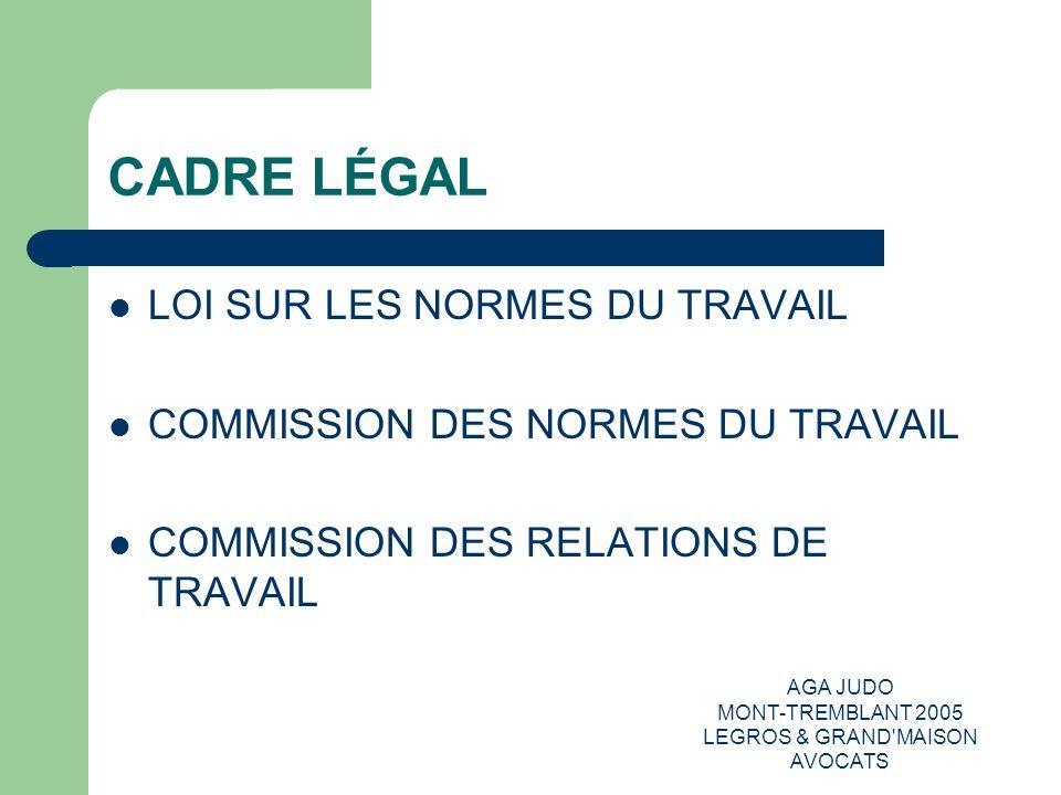 AGA JUDO MONT-TREMBLANT 2005 LEGROS & GRAND'MAISON AVOCATS CADRE LÉGAL LOI SUR LES NORMES DU TRAVAIL COMMISSION DES NORMES DU TRAVAIL COMMISSION DES R