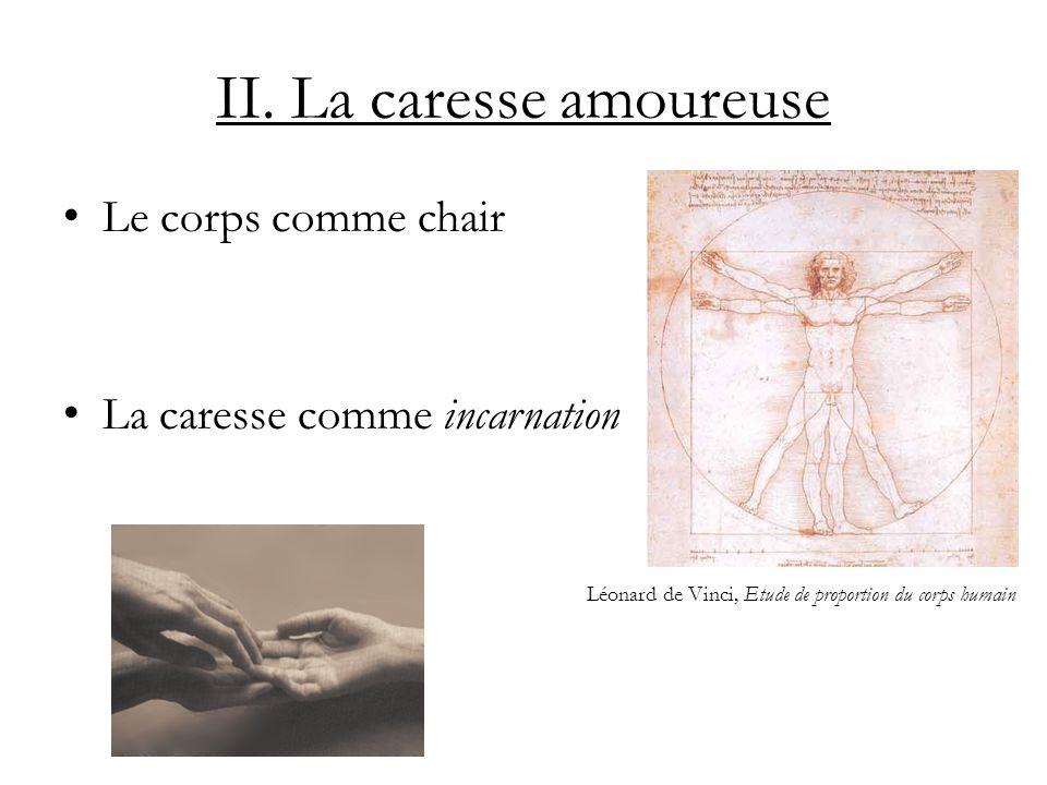 II. La caresse amoureuse Le corps comme chair La caresse comme incarnation Léonard de Vinci, Etude de proportion du corps humain