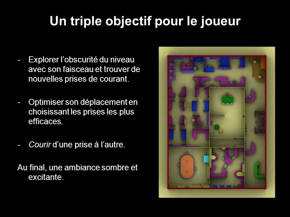 Un triple objectif pour le joueur -Explorer lobscurité du niveau avec son faisceau et trouver de nouvelles prises de courant.