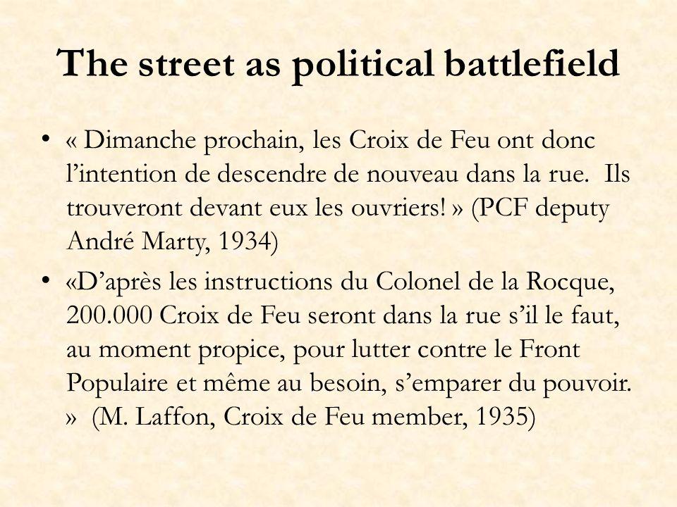 The street as political battlefield « Dimanche prochain, les Croix de Feu ont donc lintention de descendre de nouveau dans la rue.