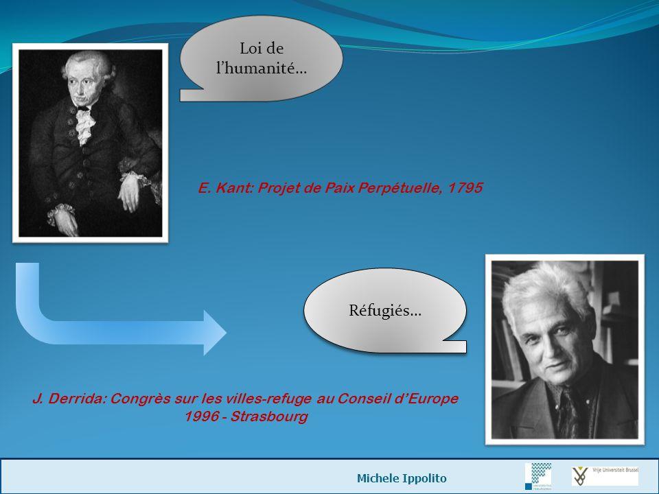 Réfugiés… J. Derrida: Congrès sur les villes-refuge au Conseil dEurope 1996 - Strasbourg Loi de lhumanité… E. Kant: Projet de Paix Perpétuelle, 1795 M