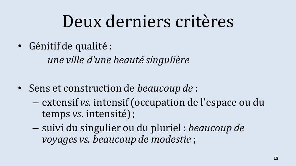 Deux derniers critères Génitif de qualité : une ville dune beauté singulière Sens et construction de beaucoup de : – extensif vs. intensif (occupation