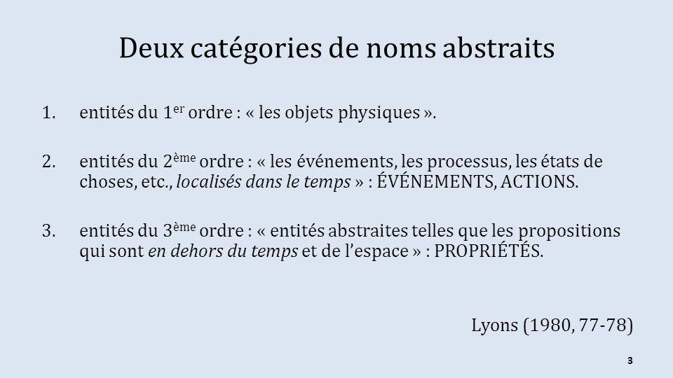 Deux catégories de noms abstraits 1.entités du 1 er ordre : « les objets physiques ». 2.entités du 2 ème ordre : « les événements, les processus, les