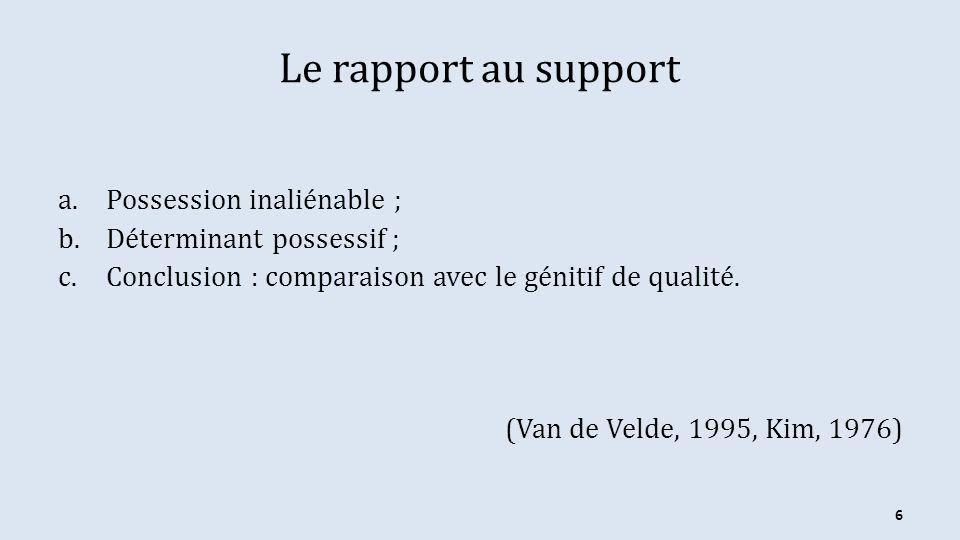 Le rapport au support a.Possession inaliénable ; b.Déterminant possessif ; c.Conclusion : comparaison avec le génitif de qualité. (Van de Velde, 1995,