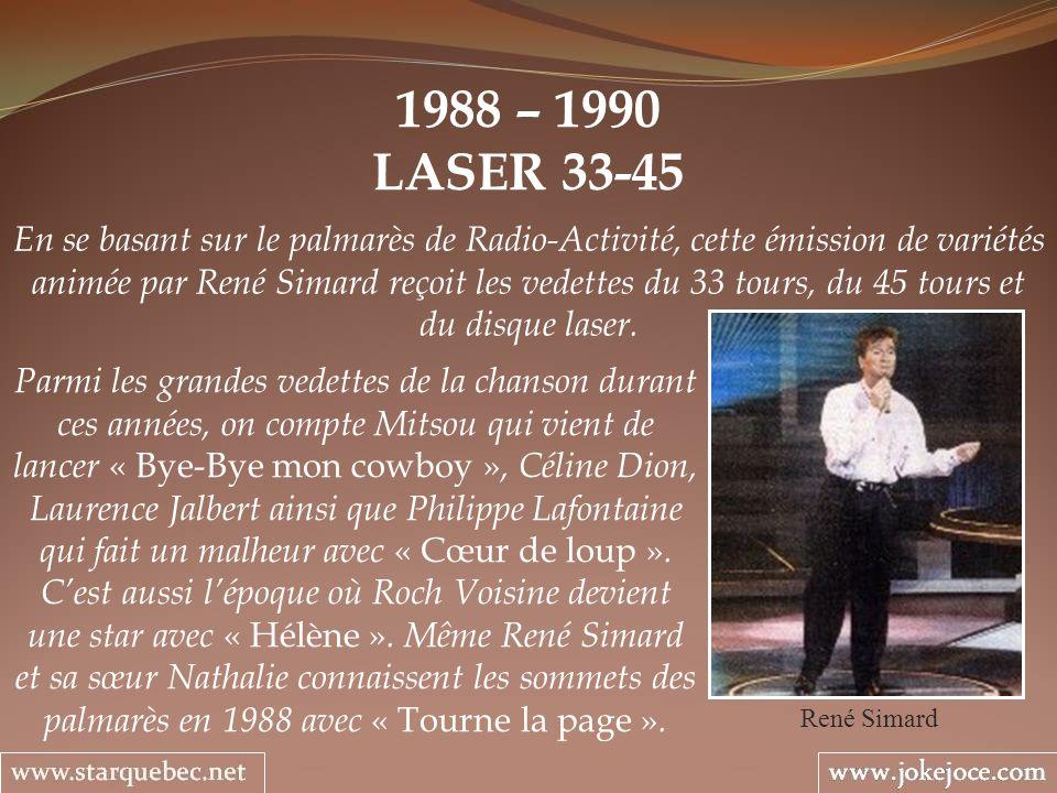 1988 – 1990 LASER 33-45 René Simard En se basant sur le palmarès de Radio-Activité, cette émission de variétés animée par René Simard reçoit les vedet