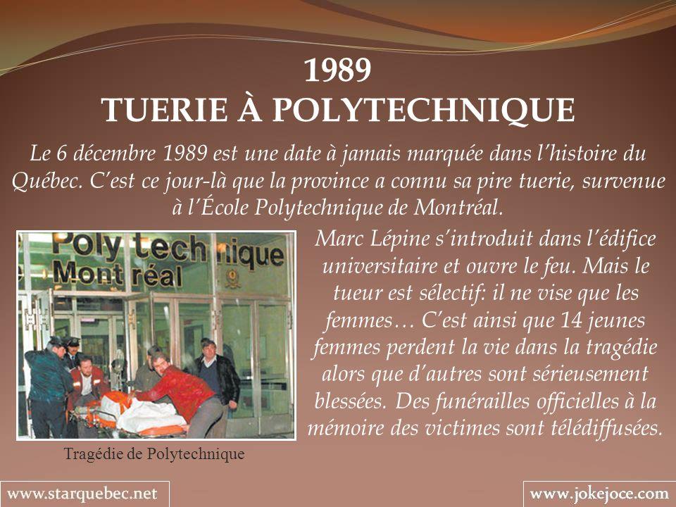 1989 TUERIE À POLYTECHNIQUE Tragédie de Polytechnique Le 6 décembre 1989 est une date à jamais marquée dans lhistoire du Québec. Cest ce jour-là que l