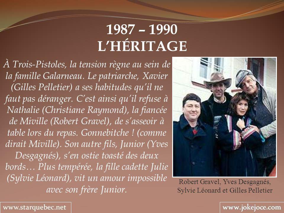 1987 – 1990 LHÉRITAGE Robert Gravel, Yves Desgagnés, Sylvie Léonard et Gilles Pelletier À Trois-Pistoles, la tension règne au sein de la famille Galar