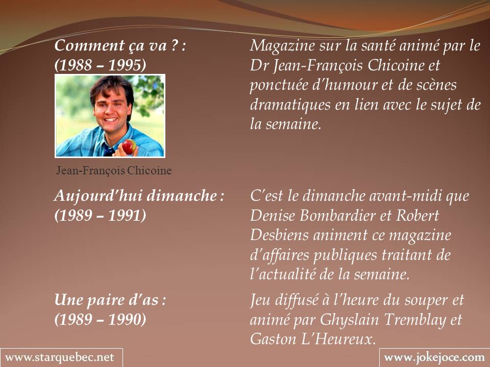 Comment ça va ? : Magazine sur la santé animé par le (1988 – 1995) Dr Jean-François Chicoine et ponctuée dhumour et de scènes dramatiques en lien avec