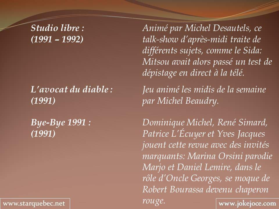 Bye-Bye 1991 : Dominique Michel, René Simard, (1991) Patrice LÉcuyer et Yves Jacques jouent cette revue avec des invités marquants: Marina Orsini paro