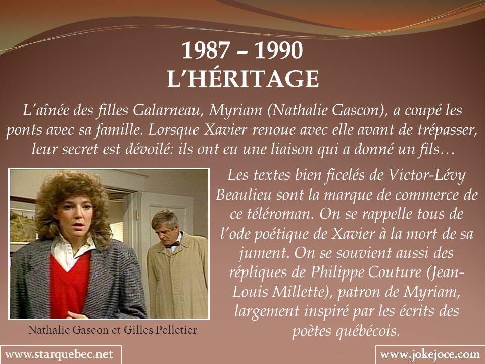 1987 – 1990 LHÉRITAGE Nathalie Gascon et Gilles Pelletier Laînée des filles Galarneau, Myriam (Nathalie Gascon), a coupé les ponts avec sa famille. Lo
