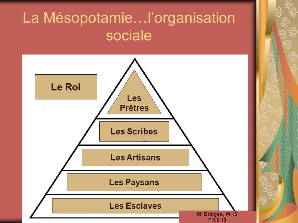 La Mésopotamie…lorganisation sociale Les Esclaves Les Paysans Les Artisans Les Scribes Les Prêtres Le Roi M. Bridgeo, WHS FISS 10