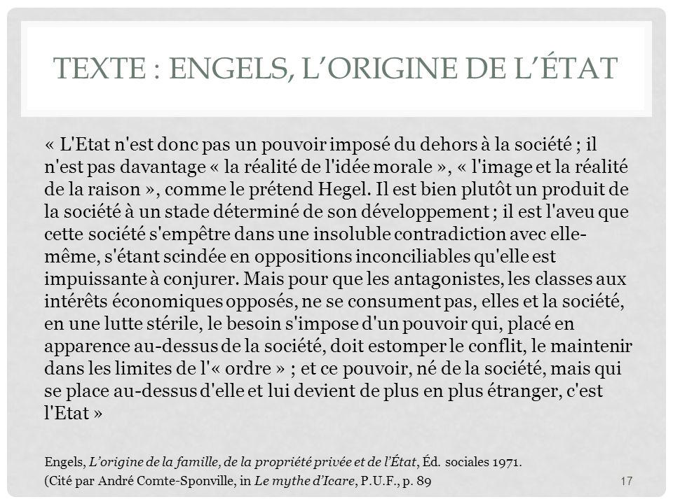 Texte : Thomas Hobbes, 1642, in Magnard, page 135 « Hors de l'état civil, chacun jouit sans doute d'une liberté entière, mais stérile ; car, s'il a la