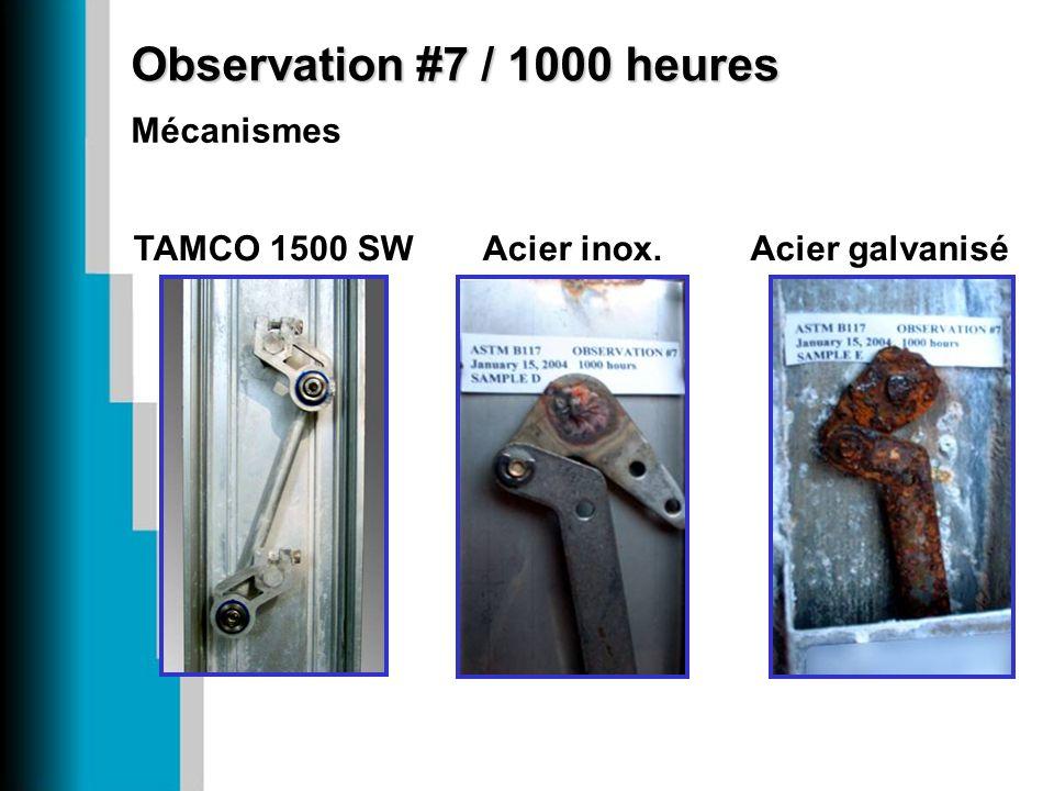 Observation #7 / 1000 heures Acier galvaniséAcier inox.TAMCO 1500 SW Mécanismes