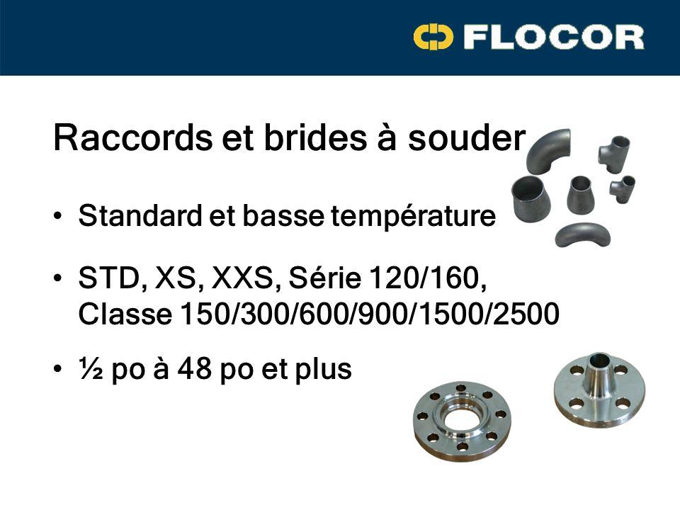Raccords et brides à souder Standard et basse température ½ po à 48 po et plus STD, XS, XXS, Série 120/160, Classe 150/300/600/900/1500/2500