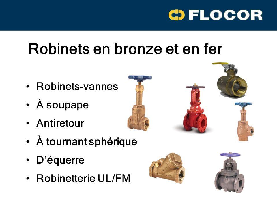 Robinets en bronze et en fer Robinets-vannes Antiretour À soupape À tournant sphérique Déquerre Robinetterie UL/FM
