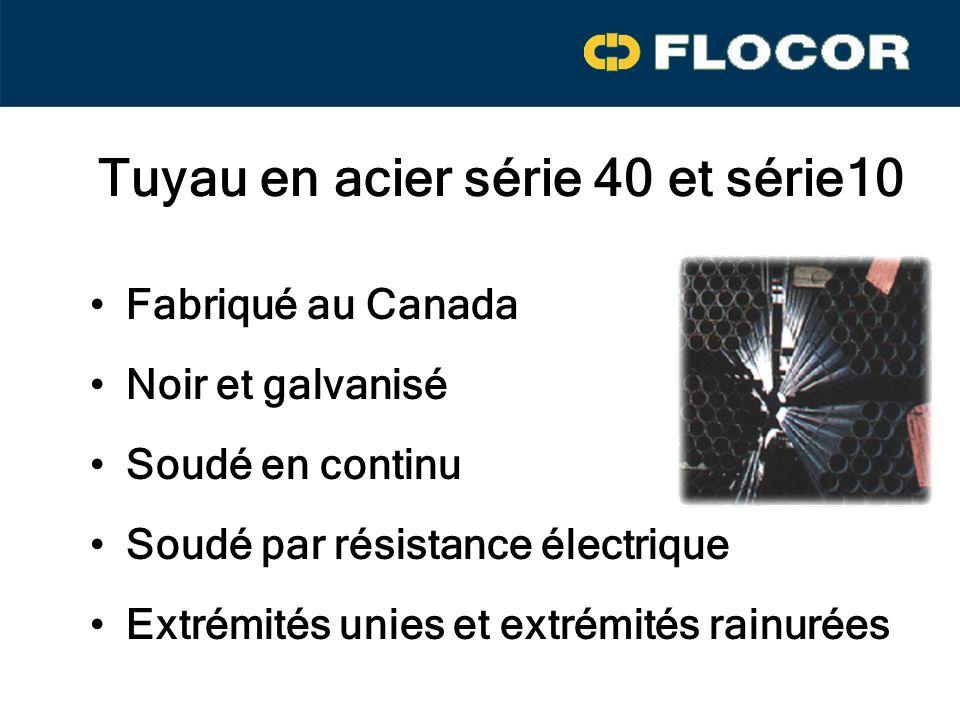 Tuyau en acier série 40 et série10 Fabriqué au Canada Noir et galvanisé Soudé par résistance électrique Soudé en continu Extrémités unies et extrémités rainurées