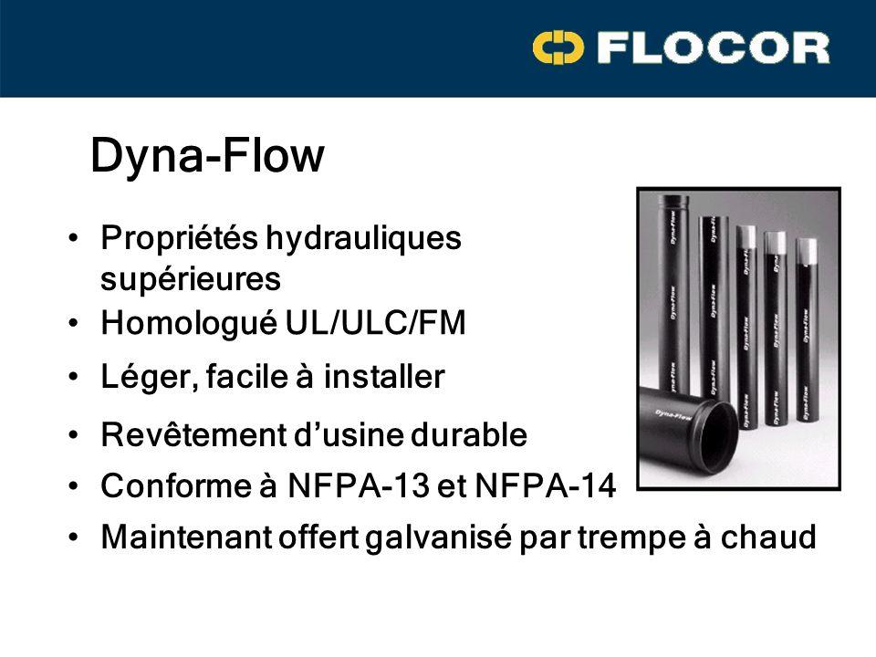 Dyna-Flow Propriétés hydrauliques supérieures Léger, facile à installer Homologué UL/ULC/FM Revêtement dusine durable Conforme à NFPA-13 et NFPA-14 Maintenant offert galvanisé par trempe à chaud