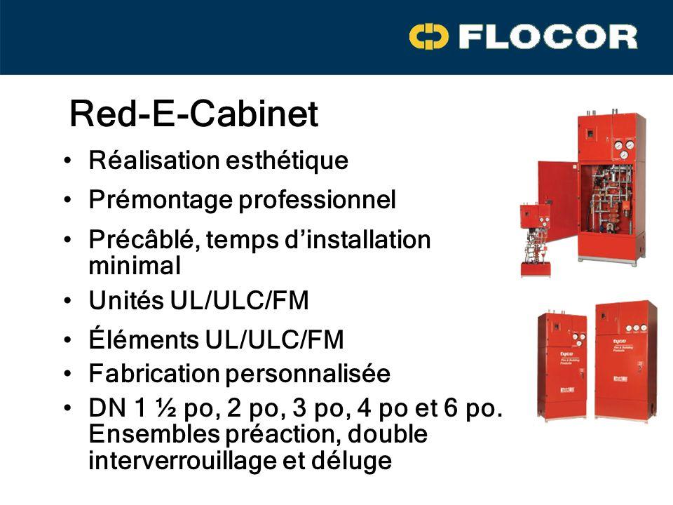 Red-E-Cabinet Réalisation esthétique Prémontage professionnel Éléments UL/ULC/FM Précâblé, temps dinstallation minimal Fabrication personnalisée DN 1 ½ po, 2 po, 3 po, 4 po et 6 po.