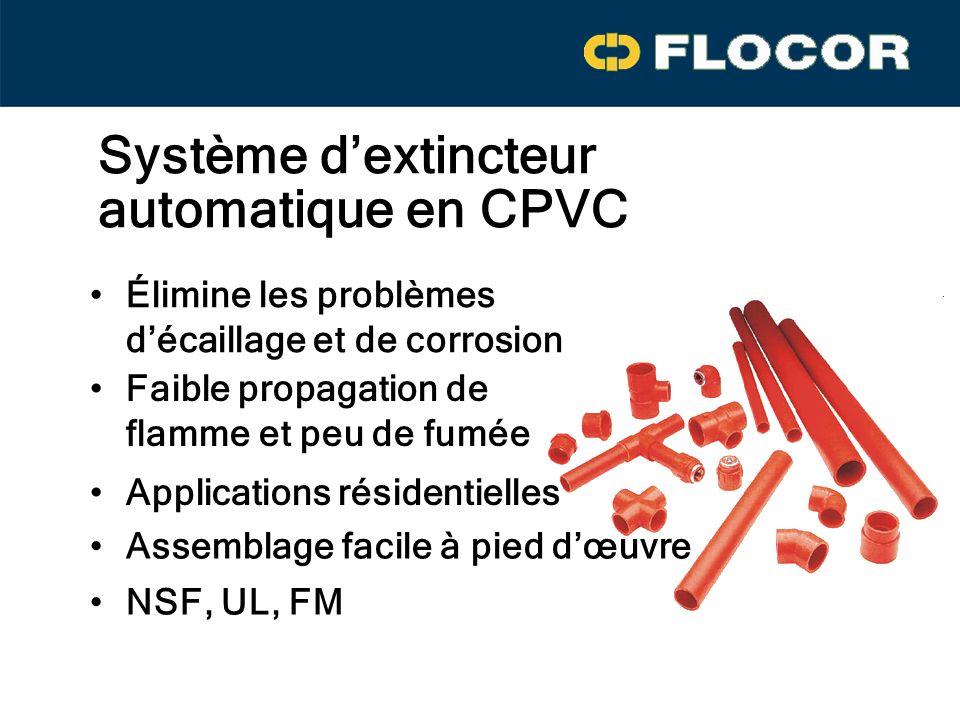 Élimine les problèmes décaillage et de corrosion Assemblage facile à pied dœuvre Faible propagation de flamme et peu de fumée NSF, UL, FM Système dextincteur automatique en CPVC Applications résidentielles